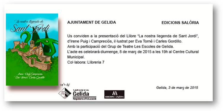 """presentació llibre """"la nostra llegenda de Sant Jordi"""""""